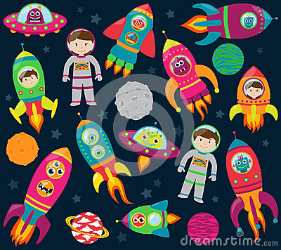Vector Collection of Cartoon Rocketships, Alients, Robots, Astronauts and Planets
