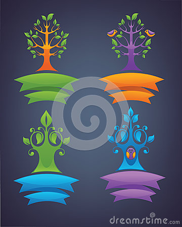 Vector collection of different tree emblems, birds