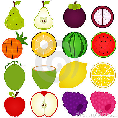 A vector collection of Fresh fruit cut in half