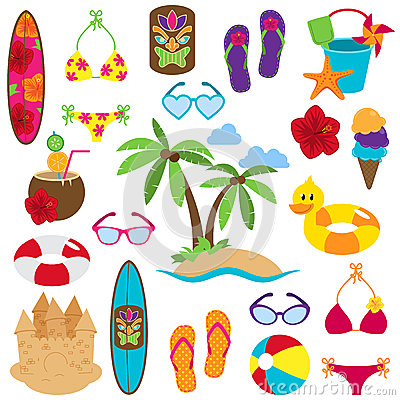Free Vector Collection Of Beach And Tropical Themed Images Royalty Free Stock Photography - 37857817