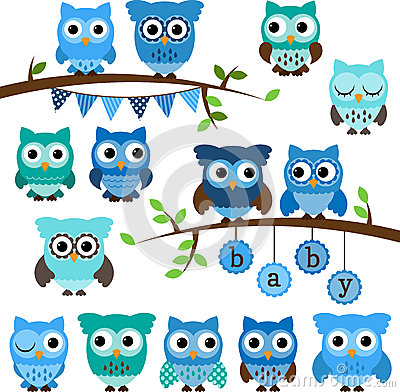 Free Vector Collection Of Boy Baby Shower Themed Owls Stock Photos - 37776933