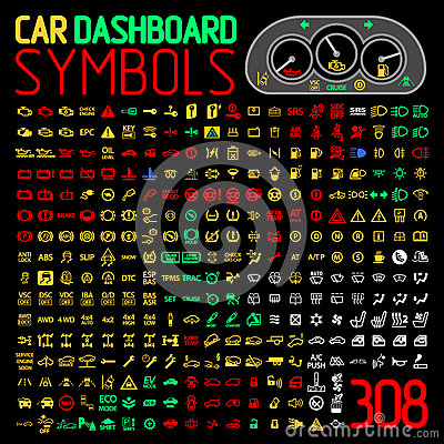 Free Vector Collection Of Car Dashboard Panel Indicators And Warning Lights Royalty Free Stock Images - 77601069