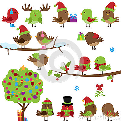 Free Vector Collection Of Christmas And Winter Birds Stock Photo - 38754180