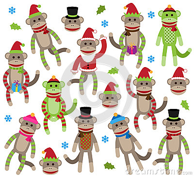 Free Vector Collection Of Cute Christmas Themed Sock Monkeys Stock Images - 42398454