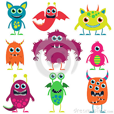 Free Vector Collection Of Cute Monsters Stock Photos - 38440363