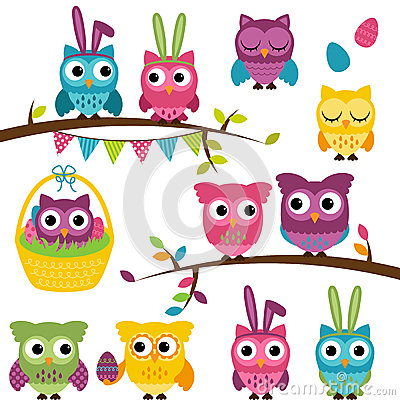 Free Vector Collection Of Easter And Spring Themed Owls Stock Photos - 37806133