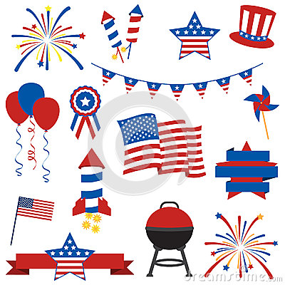 Free Vector Collection Of Fourth Of July Items Stock Image - 38725661