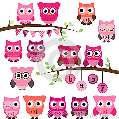 Free Vector Collection Of Girl Baby Shower Themed Owls Royalty Free Stock Images - 37806069