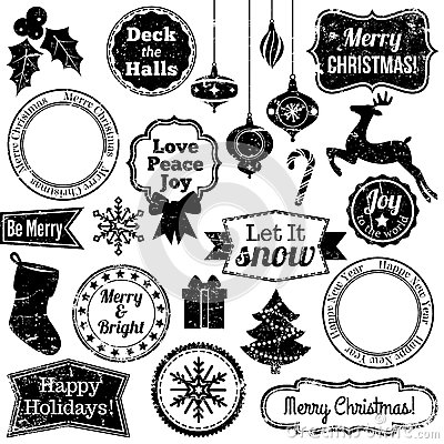 Free Vector Collection Of Grunge Christmas And Holiday Stamps Stock Image - 37776461