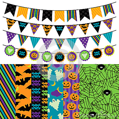 Free Vector Collection Of Halloween Themed Bunting And Seamless Tileable Backgrounds Royalty Free Stock Photos - 38563008