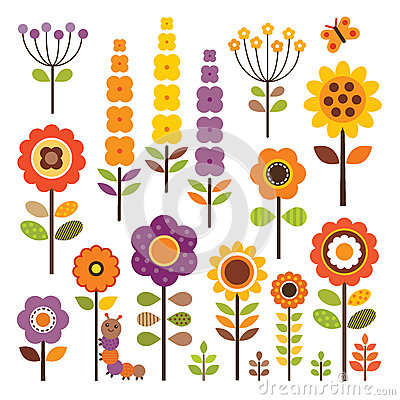 Free Vector Collection Of Isolated Flowers In Autumn Colors Stock Photos - 36422863