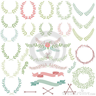 Free Vector Collection Of Laurels, Floral Elements Royalty Free Stock Images - 38563089