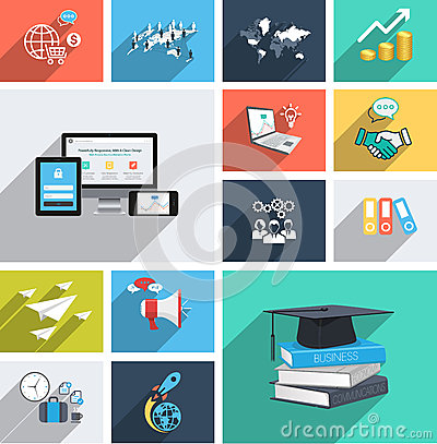 Free Vector Collection Of Modern Flat Icons With Long Shadow. Design Elements For Mobile And Web Applications. Stock Images - 40932534