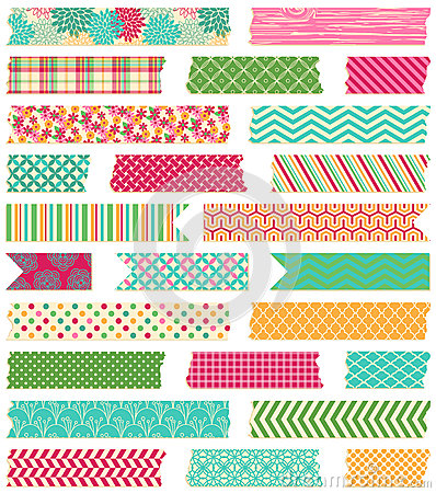 Free Vector Collection Of Patterned Washi Tape Strips Royalty Free Stock Photo - 38024905