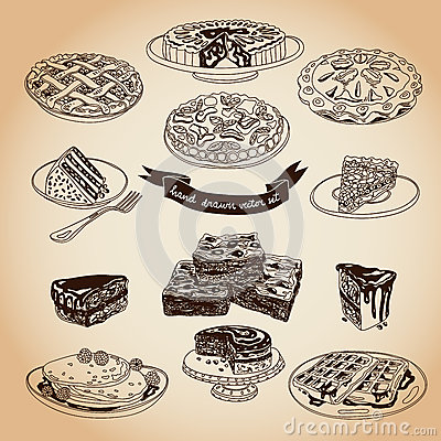 Free Vector Collection Of Pie, Cakes And Sweets Icons Royalty Free Stock Photos - 56901298
