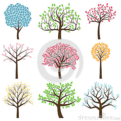 Free Vector Collection Of Tree Silhouettes Royalty Free Stock Images - 38031529