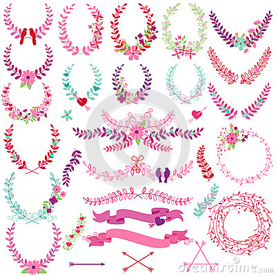 Free Vector Collection Of Valentine S Day Or Wedding Themed Laurels Stock Images - 45834254