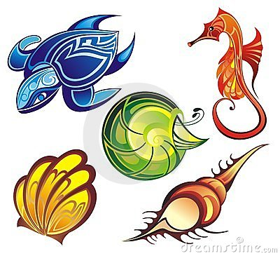 Vector collection of seashells and sea animals