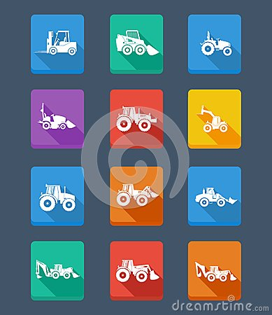 Free Vector Collection Tractor And Silhouettes. Icons Royalty Free Stock Photography - 32394777