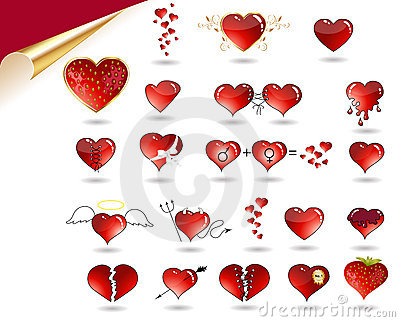 Vector Collection of various hearts.