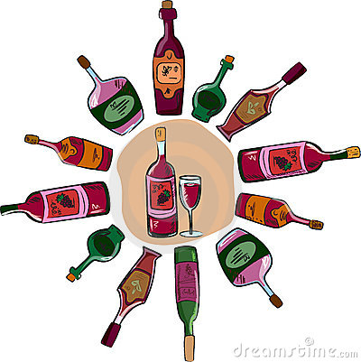 Vector collection of wine bottles and a glass
