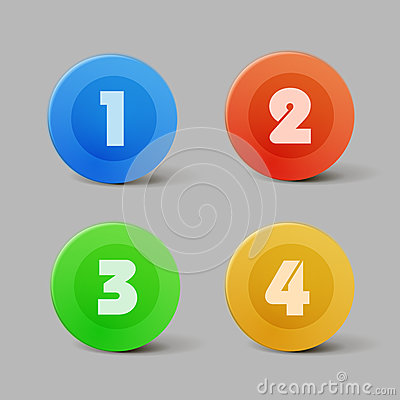 Vector color progress buttons for four steps
