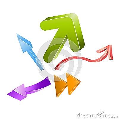 Vector colored 3D arrows