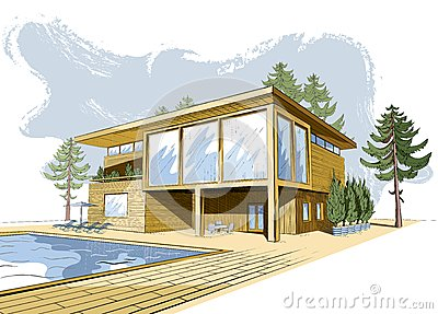 Vector colored background with modern wooden house stock for Modernes haus gezeichnet