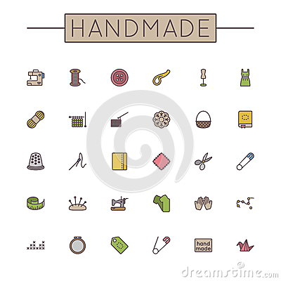Free Vector Colored Handmade Line Icons Royalty Free Stock Photo - 52469035