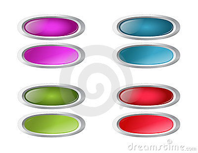 Vector colored oval buttons with pushed variants
