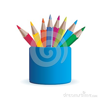 Vector colored set wooden pencil