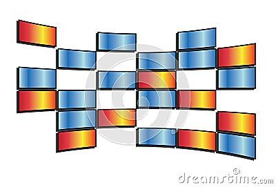 Vector colored tv screens
