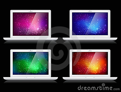 Vector colorful backgrounds and laptops