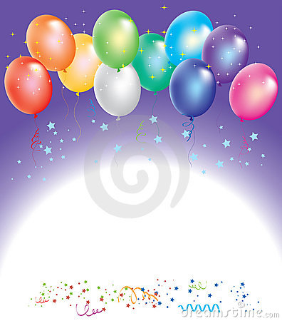 vector colorful balloons with confetti