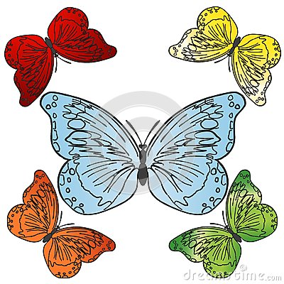 Vector colorful butterflies set