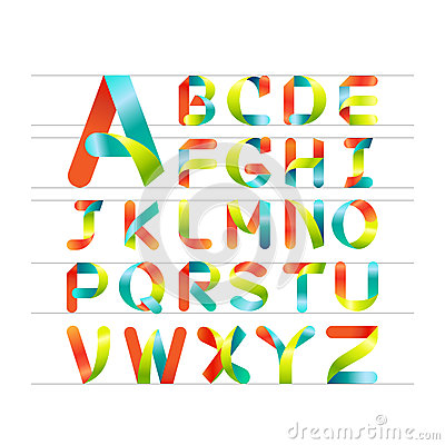 Free Vector Colorful Font. Colorful Ribbon Alphabet.Capital Letter A To Z Stock Photo - 44685410