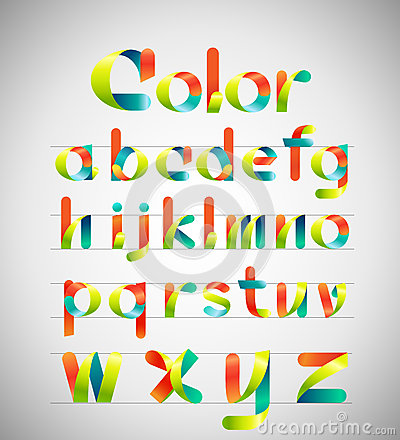 Free Vector Colorful Font. Colorful Ribbon Alphabet. Lowercase A-z. Vector Illustration. Royalty Free Stock Images - 44685449