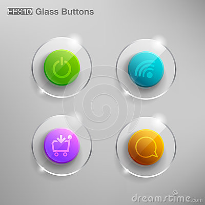 Vector colorful glass buttons Vector Illustration