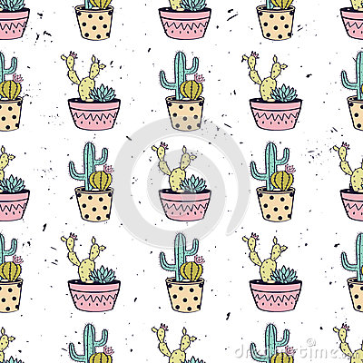 Free Vector Colorful Hand Drawn Seamless Pattern With Cactuses And Succulents Royalty Free Stock Image - 91377026