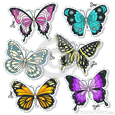 Free Vector Colorful Icons, Set Various Decorative Butterflies Royalty Free Stock Photography - 121471527