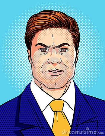 Free Vector Colorful Pop Art Comic Style Illustration Of An Angry Man`s Face Isolated From Blue Dot Background. Royalty Free Stock Photos - 127501798