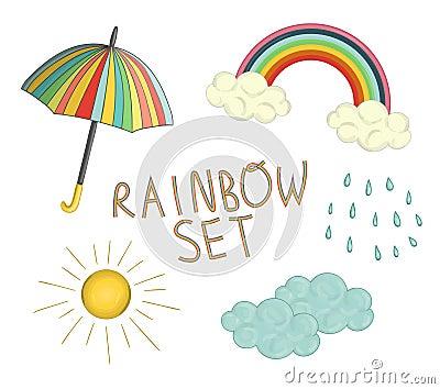 Vector colorful rainbow set Vector Illustration