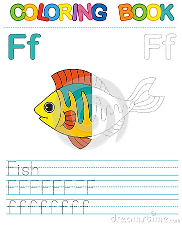 Free Vector Coloring Book Alphabet.  Restore Dashed Line And Color The Picture.  Letter F. Fish Royalty Free Stock Photos - 106642408