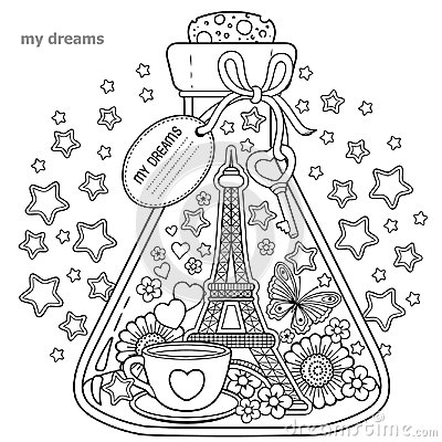 Free Vector Coloring Book For Adults. A Glass Vessel With Dreams Of Traveling To Paris.A Bottle With Butterfly, Ladybug, Leaves, Cup Of Stock Photos - 100176713