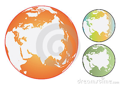 Vector coloured world globes