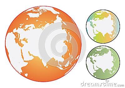 Vector coloured world globes