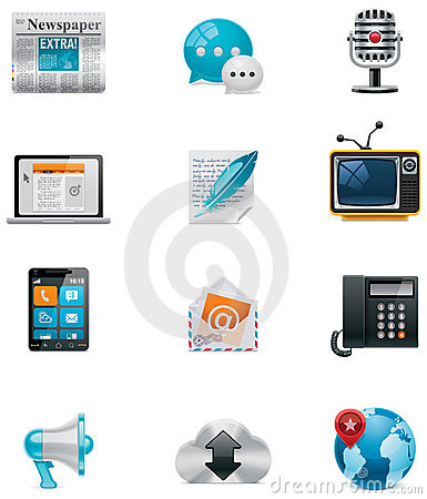 Free Vector Communication And Social Media Icon Set. Pa Stock Images - 22400904