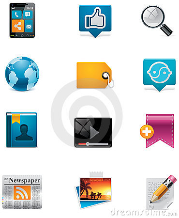 Free Vector Communication And Social Media Icon Set. Pa Royalty Free Stock Photography - 22400907
