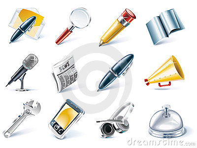 Vector Communication And Media Icon Set Stock Photo - Image: 10645150