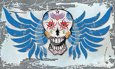 Vector con alas del cráneo del azúcar